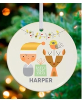 Oopsy Daisy Holiday Baby and Deer Personalized Ornament by Suzy Ultman NB47960