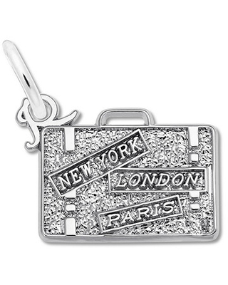 Suitcase Charm Sterling Silver