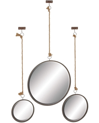 Round Hanging Wall Mirrors with Jute Rope 3 Piece: Gray by World Market