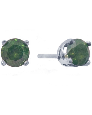 1/2 CT. T.W. Color-Enhanced Green Diamond Stud Earrings, One Size , White