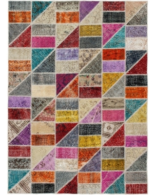 Hand-knotted Color Transition Patchwork Multi Color Wool Rug - 5'7 x 7'10