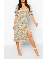Womens Floral Puff Sleeve Slit Front Midi Dress - Pink - 6