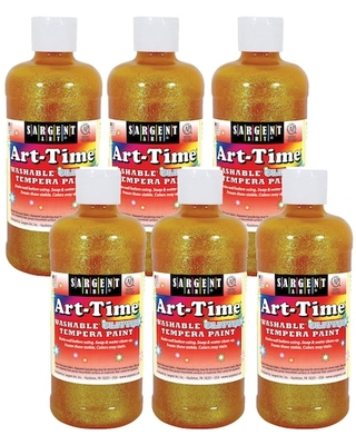 Sargent Art® Art-Time® Washable Glitter Tempera Paint, 6ct. in Yellow   16 oz   Michaels®