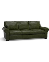 "Turner Roll Arm Leather Sofa 91"", Down Blend Wrapped Cushions, Legacy Forest Green"