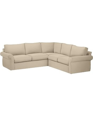 Pearce Roll Arm Slipcovered 2-Piece L-Shaped Sectional, Down Blend Wrapped Cushions, Performance Everydayvelvet(TM) Buckwheat