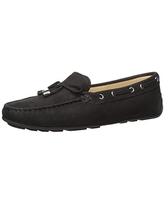 Driver Club USA Women's Leather Made in Brazil Nantucket 2.0 Tiebow Driver Moc Loafer, Black Nubuck, 7 M US