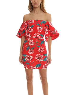 Women's Nicholas Floral Tuck Sleeve Dress in Red, Size 0