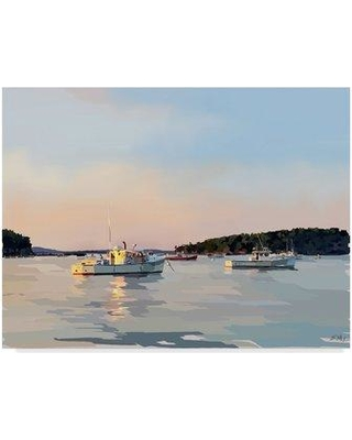 """East Urban Home 'Peaceful Harbor I' Acrylic Painting Print on Wrapped Canvas W001145402 Size: 24"""" H x 32"""" W x 2"""" D"""