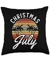 Christmas In July Cloths Summer Vacation Gifts Christmas In July Retro Tropical Beach Summer Hawaii Surfer Throw Pillow, 18x18, Multicolor