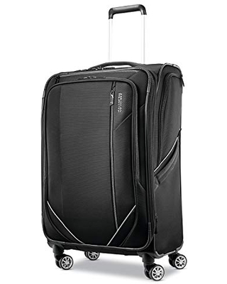 American Tourister Zoom Turbo Softside Expandable Spinner Wheel Luggage, Black, Checked-Medium 25-Inch