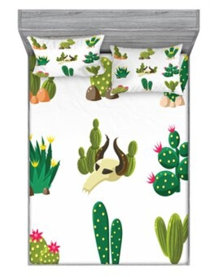 Mexican South Desert with Animals Cactus Plants Skeletons Flowers Floral Sheet Set East Urban Home