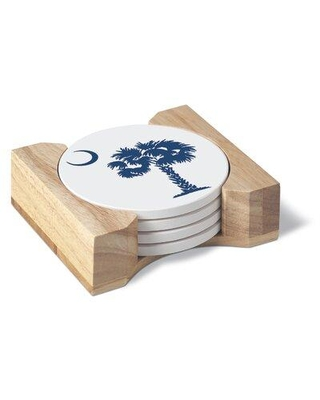 Bay Isle Home 4 Pack Absorbent Stone Coaster Gift Set With Wood Holder - Blue Palmetto W000529790