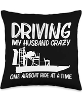 Best Airboat Riding Motorboat Propeller Designs Cool Gift for Women Mom Airboating Watercraft Boat Throw Pillow, 16x16, Multicolor