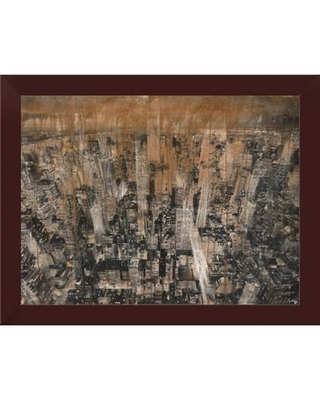 """'NYC Aerial 4' Framed Oil Painting Print East Urban Home Size: 14"""" H x 18"""" W, Format: Espresso Framed"""