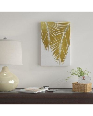 """East Urban Home 'Palm Leaf II' Graphic Art Print on Canvas in Gold UBAH9269 Size: 40"""" H x 26"""" W x 1.5"""" D"""