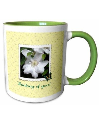 Rosalind Wheeler Whitfield Thinking of You Clematis Scalloped Frame Butterfly Flowers Coffee Mug X113780783