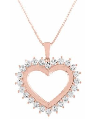 Womens Lab Created White Sapphire 14K Rose Gold Over Silver Heart Pendant Necklace, One Size