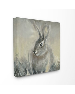 Stupell Industries Rabbit Portrait Gray Yellow Animal Painting Canvas Wall Art by Third and Wall