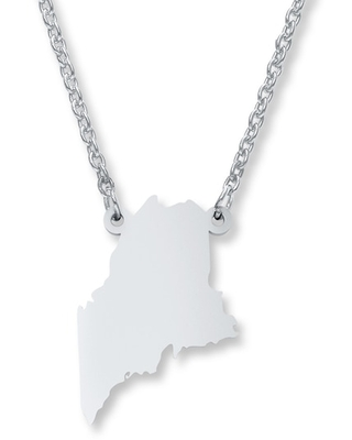 Maine State Necklace Sterling Silver