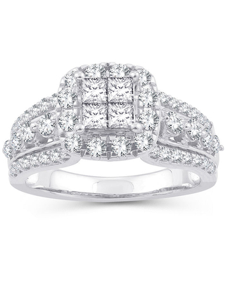 Womens 1 1/3 CT. T.W. Genuine White Diamond 10K White Gold Engagement Ring, 6 , No Color Family
