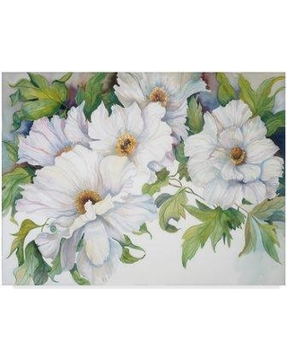"Trademark Art 'White Peonies' Acrylic Painting Print on Wrapped Canvas ALI30407-CGG Size: 35"" H x 47"" W x 2"" D"