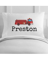 4 Wooden Shoes Personalized Fire Truck Toddler Pillow Case WF-12-112
