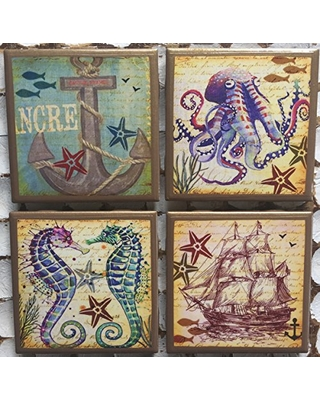 Nautical coasters with gold trim