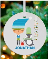 Oopsy Daisy Holiday Boy and Penguin Personalized Ornament by Suzy Ultman NB47962