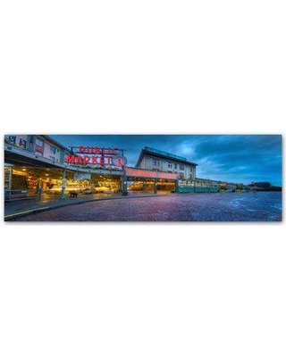 "Trademark Art 'Pike Place Seattle' Photographic Print on Wrapped Canvas ALI16701-C Size: 6"" H x 19"" W"