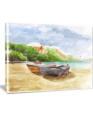 """Design Art Watercolor Fishing Boats Landscape Painting Print on Wrapped Canvas PT6360- Size: 30"""" H x 40"""" W"""