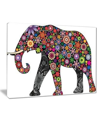 "World Menagerie 'Cheerful Elephant' Graphic Art Print on Canvas X111708584 Size: 30"" H x 40"" W x 1"" D"