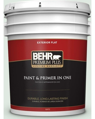 BEHR Premium Plus 5 gal. #460E-1 Meadow Light Flat Exterior Paint and Primer in One