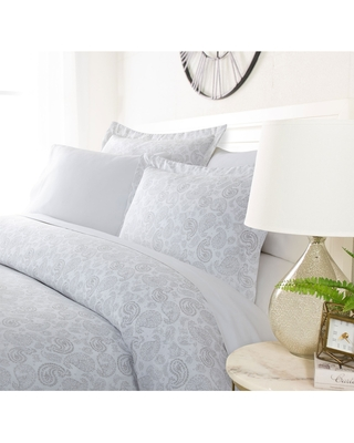 Luxury Distressed Paisley Duvet Cover Set By Sharon Osbourne Home (Queen/Full - Queen - Light Grey)