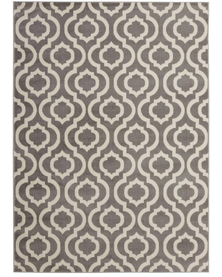 Diagona Designs Montvale Collection Moroccan Trellis Gray and Ivory 5 ft. 3 in. x 7 ft. Area Rug