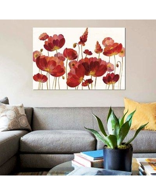 """East Urban Home 'Red Flowers On White' By Silvia Vassileva Graphic Art Print on Wrapped Canvas ETRC7104 Size: 26"""" H x 40"""" W x 1.5"""" D"""