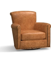 Irving Leather Swivel Glider, Bronze Nailheads, Polyester Wrapped Cushions, Leather Statesville Caramel