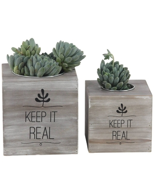 Set of 2 Rustic Wood and Iron Square Cube Planters - Olivia & May