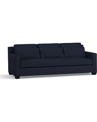 """York Square Arm Upholstered Deep Seat Grand Sofa 94"""" with Bench Cushion, Down Blend Wrapped Cushions, Twill Cadet Navy"""