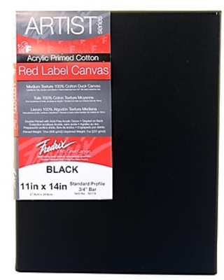 Fredrix Red Label Black Stretched Cotton Canvas 11 In. X 14 In. Each [Pack Of 4] (4PK-50179),Size: med