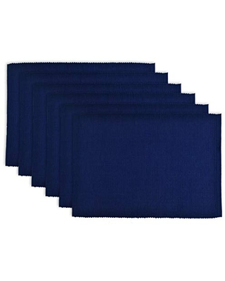 DII 100% Cotton Basic Ribbed Placemat Set, Set of 6, Nautical Blue 6 Count