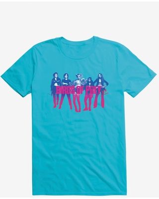 DC Comics Birds Of Prey Harley Quinn And Her Crew Shadow Ombre Outline Caribbean Blue T-Shirt