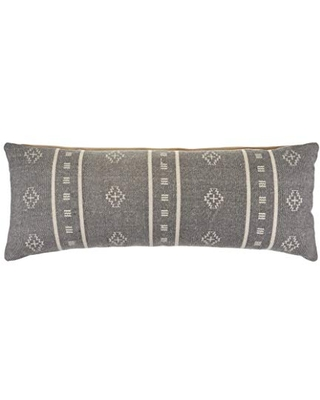"""LR Home Embroidered Throw Pillow, 14"""" x 36"""", Frost Gray/Cream"""