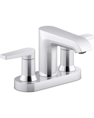 KOHLER Hint Polished Chrome 2-Handle 4-in Centerset WaterSense Bathroom Sink Faucet with Deck Plate   K-97094-4-CP