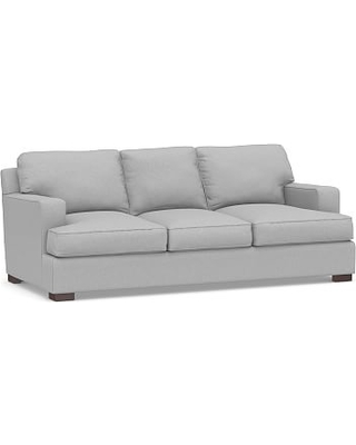 "Townsend Square Arm Upholstered Sofa 86.5"", Polyester Wrapped Cushions, Brushed Crossweave Light Gray"