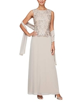 Alex Evenings Women's Long Embroidered Sleeveless Mock Dress with Shawl, Taupe, 16