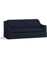 """York Slope Arm Slipcovered Deep Seat Sofa 80"""" with Bench Cushion, Down Blend Wrapped Cushions, Performance Twill Cadet Navy"""