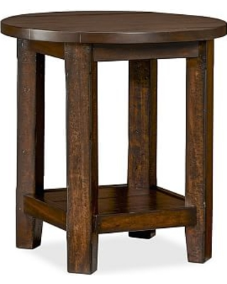 Benchwright Round End Table, Rustic Mahogany
