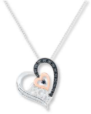 9e2092d3f Don't Miss This Deal on Mom Heart Necklace 1/15 ct tw Diamonds ...