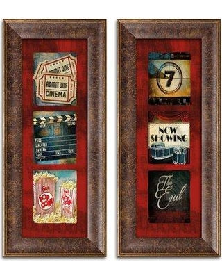 """Ebern Designs 'Contemporary Admit One Movie Tryptic and Now Showing Movie Tryptic' 2 Piece Graphic Art Print Set EBRN2282 Format: Golden Brown Frame Size: 6"""" H x 18"""" W x 0.75"""" D"""