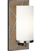 "Michael Berman Bond 12""H Wood and Clear Glass Wall Sconce"